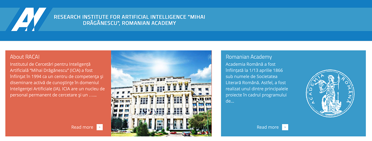 "Research Institute for Artificial Intelligence ""Mihai Drăgănescu"" of the Romanian Academy"