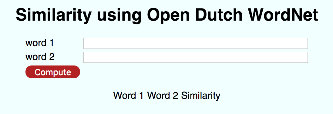 Similarity using Open Dutch WordNet